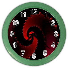 Red Fractal Spiral Color Wall Clocks by Nexatart