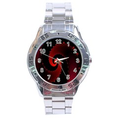 Red Fractal Spiral Stainless Steel Analogue Watch by Nexatart