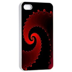 Red Fractal Spiral Apple Iphone 4/4s Seamless Case (white) by Nexatart