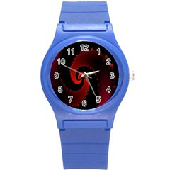 Red Fractal Spiral Round Plastic Sport Watch (s) by Nexatart