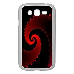 Red Fractal Spiral Samsung Galaxy Grand Duos I9082 Case (white) by Nexatart