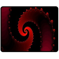 Red Fractal Spiral Double Sided Fleece Blanket (medium)  by Nexatart