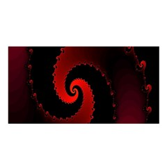 Red Fractal Spiral Satin Shawl by Nexatart