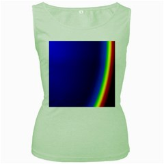 Blue Wallpaper With Rainbow Women s Green Tank Top
