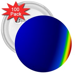 Blue Wallpaper With Rainbow 3  Buttons (100 Pack)