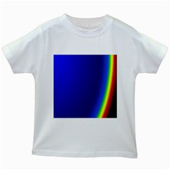 Blue Wallpaper With Rainbow Kids White T Shirts by Nexatart