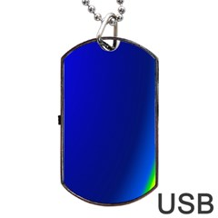 Blue Wallpaper With Rainbow Dog Tag Usb Flash (two Sides) by Nexatart