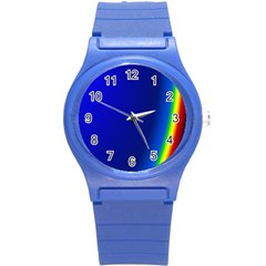 Blue Wallpaper With Rainbow Round Plastic Sport Watch (s) by Nexatart