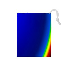 Blue Wallpaper With Rainbow Drawstring Pouches (medium)  by Nexatart