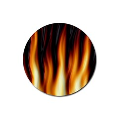 Dark Flame Pattern Rubber Coaster (round)  by Nexatart