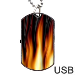 Dark Flame Pattern Dog Tag Usb Flash (two Sides) by Nexatart