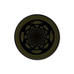 Dark Portal Fractal Esque Background Rubber Round Coaster (4 Pack)  by Nexatart