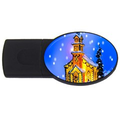 Winter Church Usb Flash Drive Oval (2 Gb) by Nexatart
