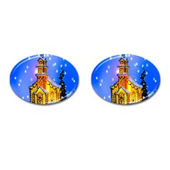 Winter Church Cufflinks (oval) by Nexatart