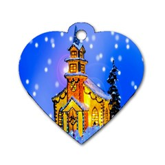 Winter Church Dog Tag Heart (two Sides) by Nexatart