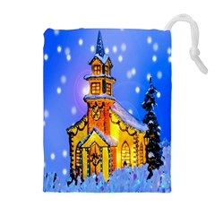 Winter Church Drawstring Pouches (extra Large) by Nexatart