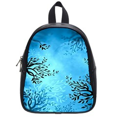 Blue Night Portrait Background School Bags (small)  by Nexatart
