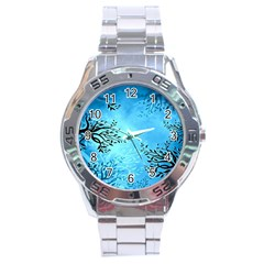 Blue Night Portrait Background Stainless Steel Analogue Watch by Nexatart