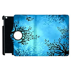 Blue Night Portrait Background Apple Ipad 2 Flip 360 Case