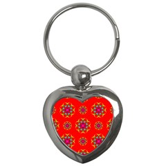 Rainbow Colors Geometric Circles Seamless Pattern On Red Background Key Chains (heart)  by Nexatart