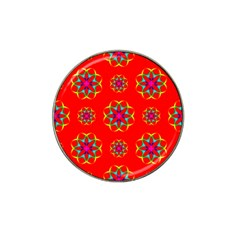 Rainbow Colors Geometric Circles Seamless Pattern On Red Background Hat Clip Ball Marker by Nexatart