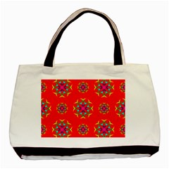 Rainbow Colors Geometric Circles Seamless Pattern On Red Background Basic Tote Bag