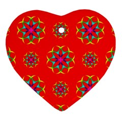Rainbow Colors Geometric Circles Seamless Pattern On Red Background Heart Ornament (two Sides) by Nexatart