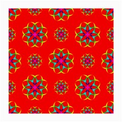 Rainbow Colors Geometric Circles Seamless Pattern On Red Background Medium Glasses Cloth by Nexatart