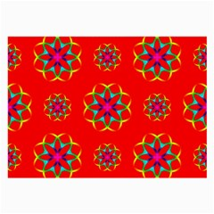 Rainbow Colors Geometric Circles Seamless Pattern On Red Background Large Glasses Cloth (2 Side) by Nexatart