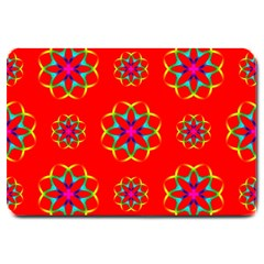 Rainbow Colors Geometric Circles Seamless Pattern On Red Background Large Doormat