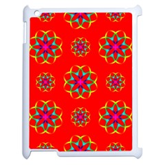 Rainbow Colors Geometric Circles Seamless Pattern On Red Background Apple Ipad 2 Case (white) by Nexatart