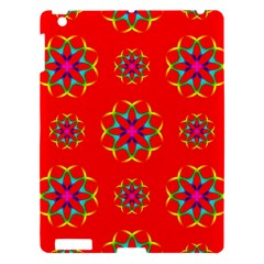 Rainbow Colors Geometric Circles Seamless Pattern On Red Background Apple Ipad 3/4 Hardshell Case by Nexatart