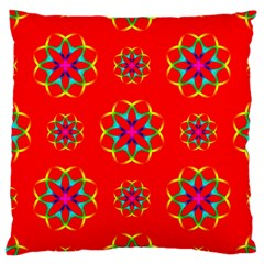 Rainbow Colors Geometric Circles Seamless Pattern On Red Background Large Cushion Case (one Side) by Nexatart