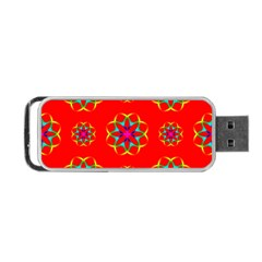 Rainbow Colors Geometric Circles Seamless Pattern On Red Background Portable Usb Flash (two Sides) by Nexatart