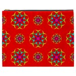 Rainbow Colors Geometric Circles Seamless Pattern On Red Background Cosmetic Bag (XXXL)  Front