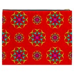 Rainbow Colors Geometric Circles Seamless Pattern On Red Background Cosmetic Bag (XXXL)  Back