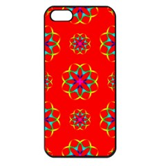 Rainbow Colors Geometric Circles Seamless Pattern On Red Background Apple Iphone 5 Seamless Case (black) by Nexatart