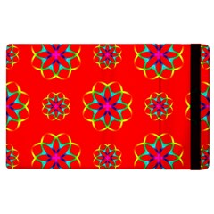 Rainbow Colors Geometric Circles Seamless Pattern On Red Background Apple Ipad 2 Flip Case by Nexatart
