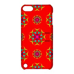 Rainbow Colors Geometric Circles Seamless Pattern On Red Background Apple Ipod Touch 5 Hardshell Case With Stand by Nexatart