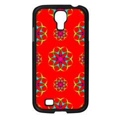 Rainbow Colors Geometric Circles Seamless Pattern On Red Background Samsung Galaxy S4 I9500/ I9505 Case (black) by Nexatart