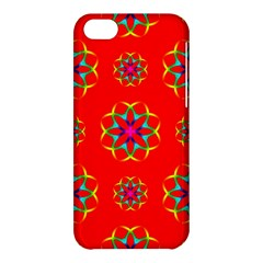 Rainbow Colors Geometric Circles Seamless Pattern On Red Background Apple Iphone 5c Hardshell Case by Nexatart