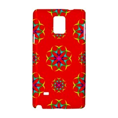 Rainbow Colors Geometric Circles Seamless Pattern On Red Background Samsung Galaxy Note 4 Hardshell Case by Nexatart