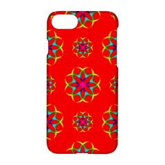 Rainbow Colors Geometric Circles Seamless Pattern On Red Background Apple Iphone 7 Hardshell Case by Nexatart