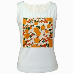 Vintage Floral Wallpaper Background In Shades Of Orange Women s White Tank Top by Nexatart