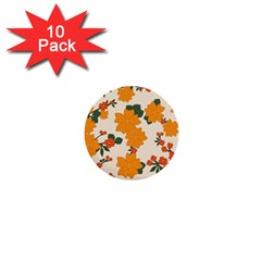Vintage Floral Wallpaper Background In Shades Of Orange 1  Mini Buttons (10 Pack)  by Nexatart