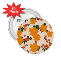 Vintage Floral Wallpaper Background In Shades Of Orange 2 25  Buttons (10 Pack)