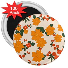 Vintage Floral Wallpaper Background In Shades Of Orange 3  Magnets (100 Pack) by Nexatart