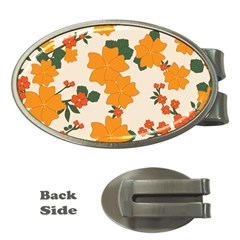 Vintage Floral Wallpaper Background In Shades Of Orange Money Clips (oval)