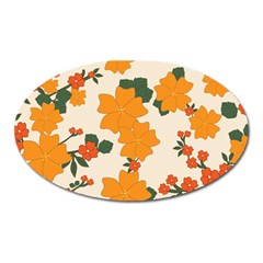 Vintage Floral Wallpaper Background In Shades Of Orange Oval Magnet by Nexatart