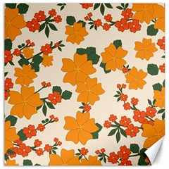 Vintage Floral Wallpaper Background In Shades Of Orange Canvas 12  X 12   by Nexatart
